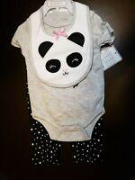 GIRLS INFANT CONTACT BABY PANDA BEAR HUG BODYSUIT 3 PIECE SET SIZE 6-9 MONTHS