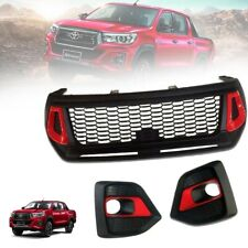 FRONT GRILLE GRILL MATTE BLACK RED ABS FOR TOYOTA HILUX REVO ROCCO M70 M80 18-20