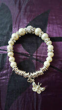 WHITE GLASS FAUX PEARL CRYSTAL & 925 SILVER BUTTERFLY CHARM STRETCH BRACELET