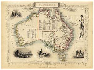 Vintage Decorative Map of Australia Tallis ca. 1851