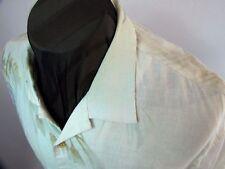 Tommy Bahama Paradise ivory blue asymmetrical floral 100% linen S/S shirt  M