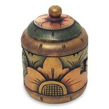 Floral Box Jar with Lid Hand Carved Mahogany 'Garden Treasure' NOVICA Bali