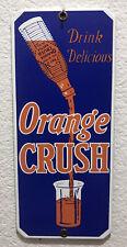 VINTAGE 1960's DRINK DELICIOUS ORANGE CRUSH PORCELAIN SODA POP DOOR PUSH SIGN