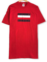Vtg 97 Fruit of the Loom Men's Red Palm Beach Spellout Single Stitch T-Shirt 2XL