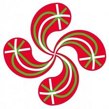 Autocollant Croix Basque Lauburu drapeau sticker adhésif 8 cm