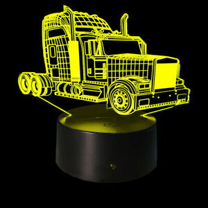 3D Illusion Night Light Semi Truck USB 7 Color Touch Change