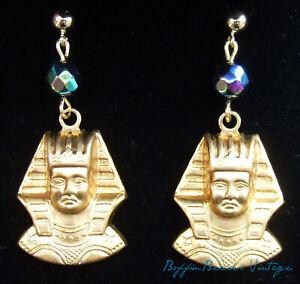 Vintage carnival glass EARRINGS Egyptian Revival brass King Tutankhamun 14K