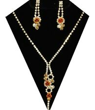 Golden rose diamante crystal prom party bridal jewellery set sparkly bling 0515