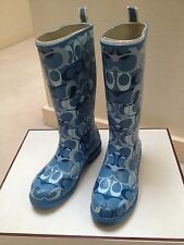 Coach Blue Rain Boots Size 6 - Comes With Box