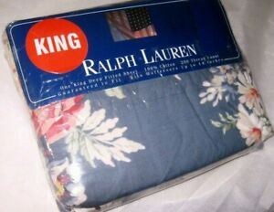 NIP Ralph Lauren KIMBERLY Floral Cotton KING Size Fitted Bed SHEET Made in USA