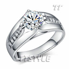Cubic Zirconia Silver Plated Band Stone Fashion Rings