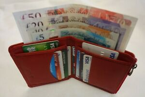 Ladies Leather Purse Wallet Organizer Slim Compact Top Brand Red in Gift Box