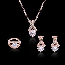 Jewelry Necklace Set X Shape Rose Gold Zircon Crystal Pendant Stud Earrings Ring