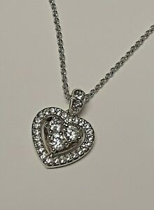 Swarovski Earrings White Crystal & 9 1/2 Inch Heart Pendant Charm With White Gem