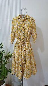 Valleygirl size 10 dress yellow flower floral print tea party  Nina proudman