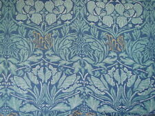 "WILLIAM MORRIS CURTAIN FABRIC ""Tulip & Rose"" 3.6 METRES INDIGO/SLATE 100% LINEN"