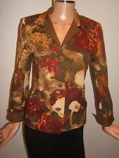 LINDA ALLARD ELLEN TRACY 4P 6P FALL  Floral Brown Blazer Womens Designer Jacket