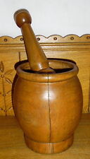 "Old / Antique Treen Wood Mortar & Pestle - 7 1/8"" - Splits"