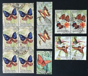 Malaysia 1970 Butterflies Used Stamps, Various Denominations