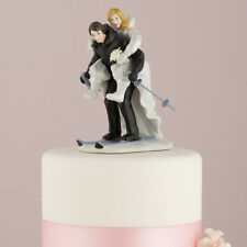 Winter Skiing Wedding Couple Figurine Skis Cake Topper Custom Colors Available