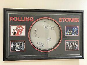 Rolling Stones Hand Signed & Framed Drum Skin Jagger Woods Watts Richards