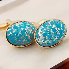 Vintage - 1950s Turquoise Silver Carbuncle - Oval Gold Plated Cufflinks