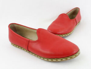 Sabah Women's Red Leather Slip On Round Toe Flat Loafer Shoe Sz 42 US 12
