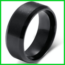 Color Black Stainless Men/Women Size 7-11 Titanium 8mm Steel Ring Band Cool