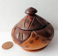 Wooden trinket box jar pot with lid Turned wood with carved leaf pattern