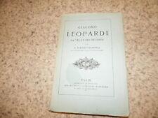 1874.Giacomo Leopardi sa vie et ses oeuvres.Bouché-Leclercq