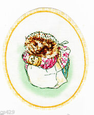 "3"" Beatrix potter hedgehog oval nursery fabric applique iron on character"