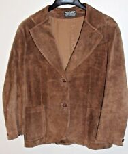 VINTAGE 1970s Brown Calf Suede Leather Blazer Coat Womens 12 Made in Argentina