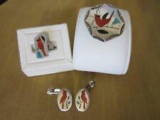 ZUNI NATIVE AMERICA STERLING SILVER RED BIRD CARDINAL INLAY PENDANT RING EARRING