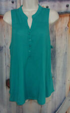 Almost Famous Woman L Teal Sleeveless, Button Front, Lace Back, Knit Top Blouse