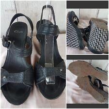 65752e44d4e5a Clarks Size 5.5 Ladies black Sandals shoe Leather Wedge open toe sling back  WORN