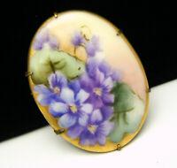 Lovely Antique Victorian Hand Painted Porcelain Brooch Violets Floral Brass C Cl