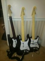 Lot of 2 Stratocaster Wired Guitar Controllers Xbox 360 + 1 Wii for PARTS