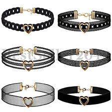 6pcs Heart Charms Choker Necklace Black Velvet Lace Collar Set for Women Girls