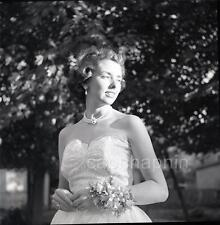 Radiant in Sunlight Pretty Prom Queen Girl Pearl Choker Vtg 1950s Negative Photo