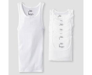 Hanes Boys' 8-Pack White 100% Cotton Tagless Tanks A-Shirts Undershirts 14-16 L