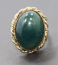Adjustable Sterling Silver Teal Green Oval Agate Stone Ring One Size Fits All