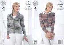 Womens Double Knitting Pattern Boxy or Collar Jacket King Cole Drifter DK 4251