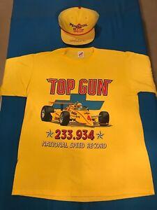 RICK MEARS 1988 INDY 500 CAP and 1986 T-SHIRT 'TOP GUN' COMBO yellow