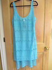 Profile by Gottex XL Crocheted Cover-up Dress Sleeveless $68 RV Aqua Blue Sheer