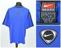 Mens Nike Center Swoosh Vintage T-Shirt Dri-Fit Blue Logo 90s Size XXL / 2XL