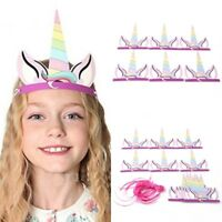 12Pcs/Set Rainbow Unicorn Party Horn Hats Headband Kids Birthday Party Decor TM1