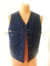 NWOT Men Jean Denim Vest Prison Blues Work Riding Western Inmates USA S/M
