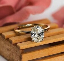Engagement Ring In 14K Yellow Gold 2Ct Oval White Forever Moissanite Solitaire