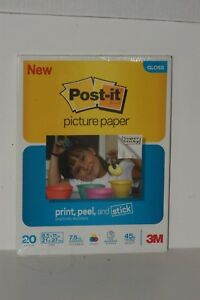 3M POST IT Picture Paper Gloss Print Peel and Stick 20 sheets 8.5 x 11 inches