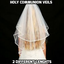 Girls 2 Tier White First Holy Communion Veil Diamante Crystals Wedding Girl New